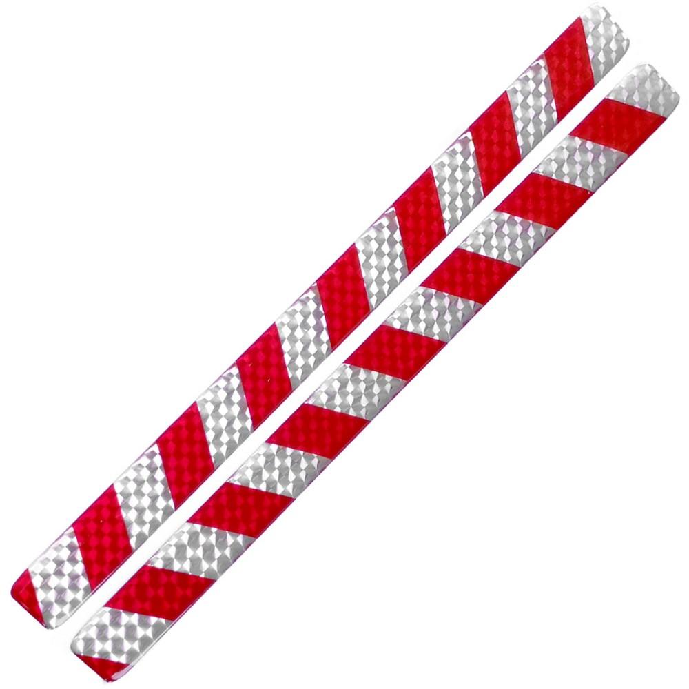 Fényvisszaverő matrica 2db-os 2x30cm műgyantás ezüst-piros 808