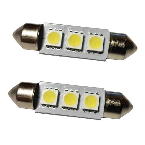 Izzó 12V/3W SMD LED 10x39mm szofita fehér 2db LA-512