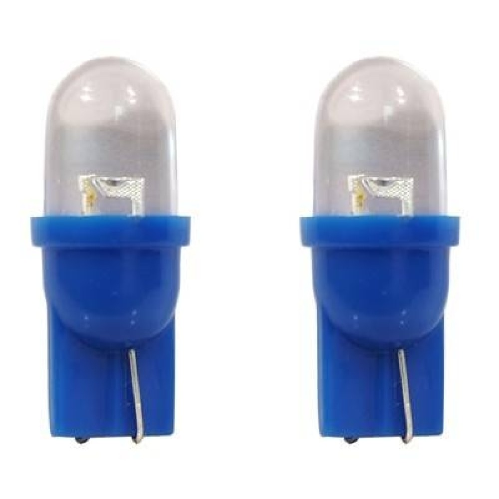 Izzó 12V T10 kék gömbfejű LED párban 29B