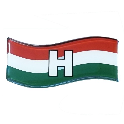 Magyarország zászló műgyantás matrica (H)