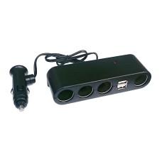 Szivargyújtó elosztó 4-es + 2db USB 1A WF-0120-4