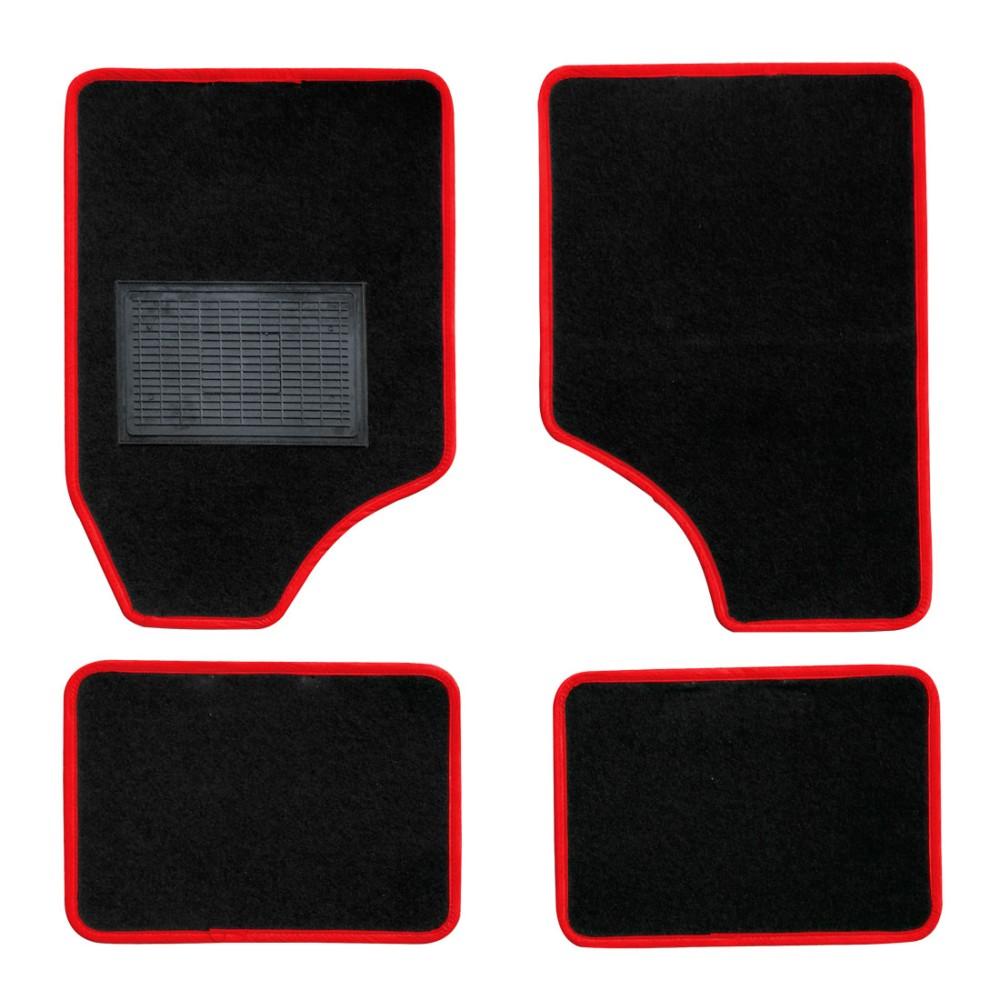 Textilszőnyeg autóba 4db-os fekete-piros univerzális